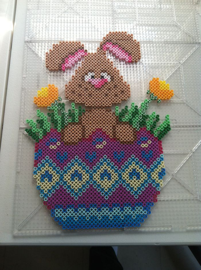 Easter egg bunny perler beads by icrama