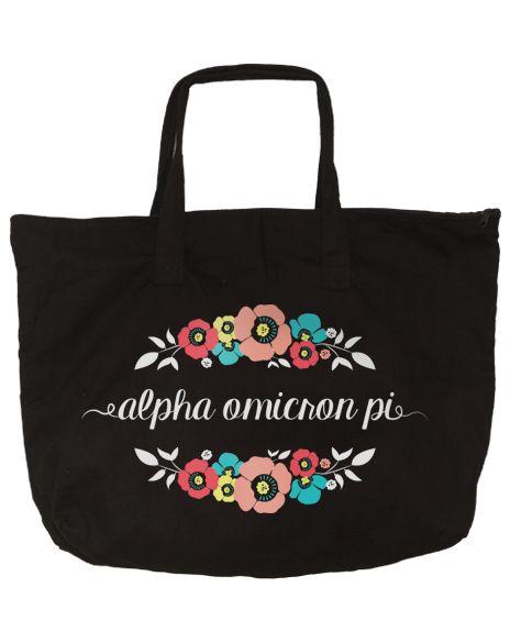 Alpha Omicron Pi Floral Zippered Tote Bag by Adam Block Design | Custom Greek Apparel & Sorority Clothes | www.adamblockdesign.com