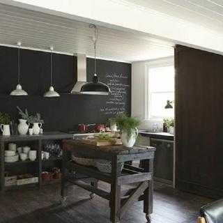 White house daylesford - kitchen, chalkboard paint, island work bench
