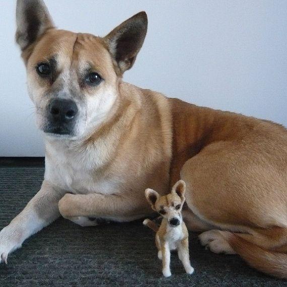 Custom dog sculpture needle felted art pet by DreamwoodArtDesigns, $169.00
