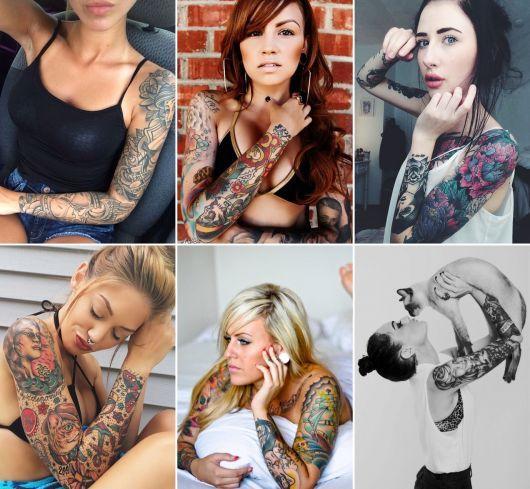 exemplo de tatuagens femi    ninas no braço inteiro, fechado ou sleeve