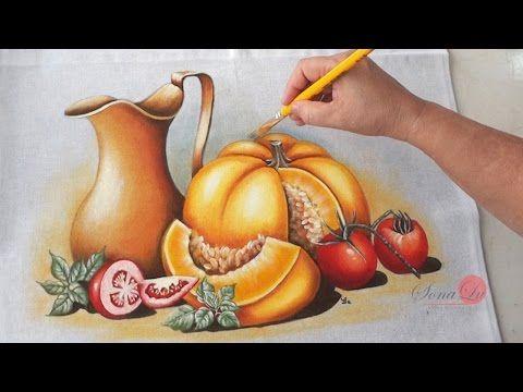 Jarro, Abóbora e Tomates em Tecido (Aula 58/ Parte 2) - YouTube