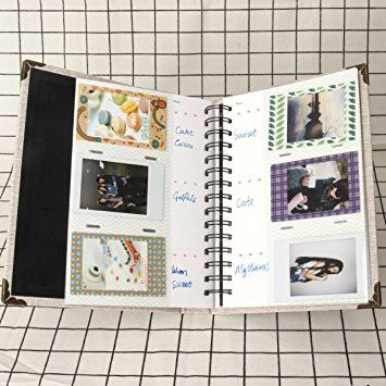 Woodmin 120 Pockets PU Leather Binder Coil Photo Album for 3-inch Fujifilm Instax Films, Fuji Mini 8 8+ Mini 9 70 90 25 50s 7s Photo Book Ticket Album Guest Book (White): Amazon.ca: Home & Kitchen