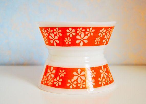Vintage feu-roi Orange Groovy fleurs céréales bols lot de 2, milieu du siècle moderne cuisine lait verre