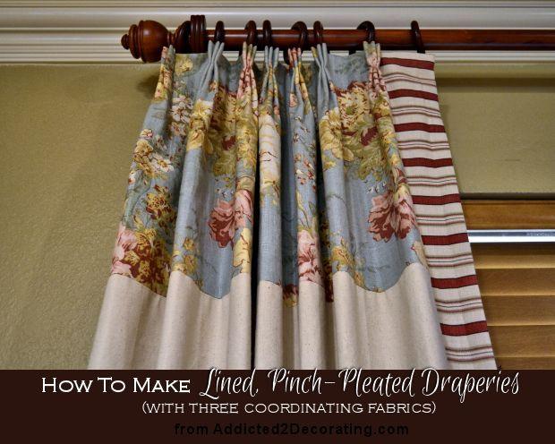 diy lined draperies with three fabrics