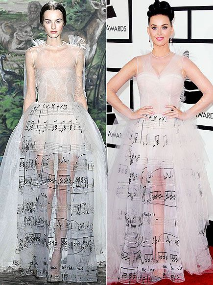 High-Fashion Faceoff: Runway vs. Red Carpet | KATY IN VALENTINO HAUTE COUTURE | Same tune, different tulle. Perry adds a few layers of fabric in the bust area to make the music-themed gown a bit less sheer (though she leaves the revealing skirt as is).