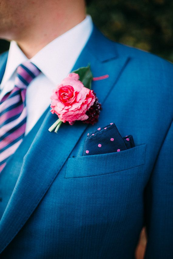 great groom style, blue suit and striped tie | Metallic and pink Boston wedding | Photo by Cambria Grace Photography | Florals by Pollen Floral Design | Read more - http://www.100layercake.com/blog/?p=82485