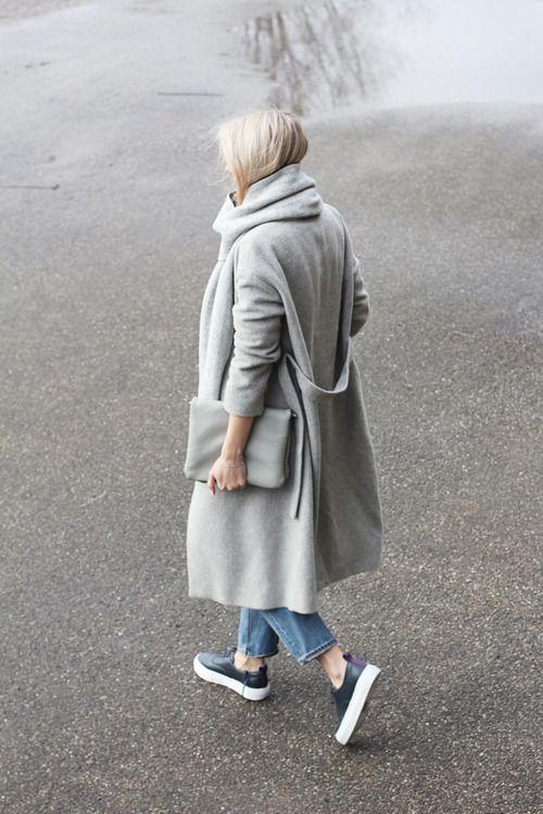 grey coat platform sneakers denim oversized clutch