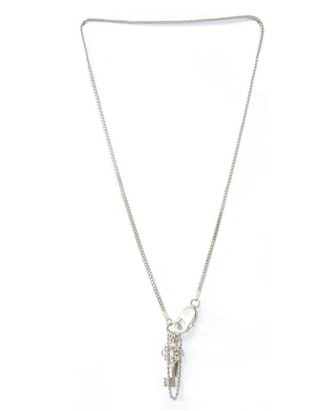 finch:NS45  $99.  A fine short sterling silver snake chain necklace.  With a sterling silver key and feather charm.  Fastened with an oversized sterling silver front clasp