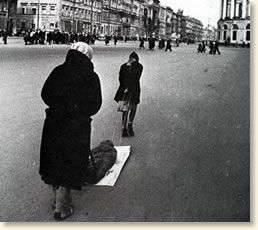 The siege of Leningrad (the modern-day St. Petersburg) lasted almost two and one-half years and cost the lives of an estimated 1,000,000 city residents. It began on September 8, 1941 when German troops completed their encirclement of the city. As his blitzkrieg rushed towards Moscow, Hitler made the strategic decision to bypass Leningrad and strangle the city into submission rather than commit valuable resources to attacking it directly.   A victim of the siege is dragged to a cemetery
