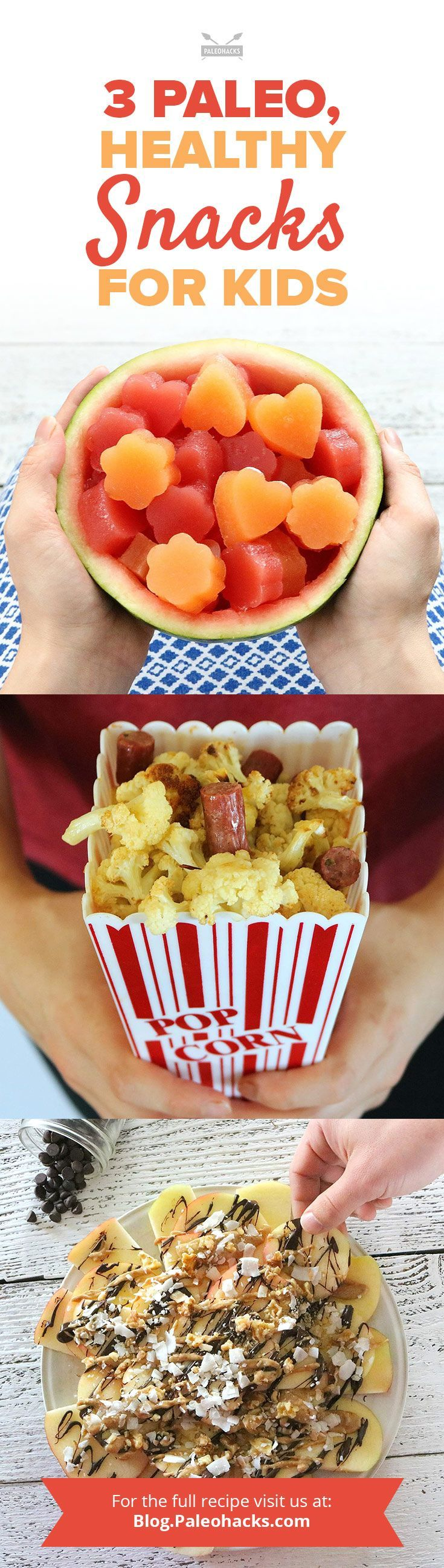 """Snack time is covered! From real fruit-flavored collagen gummies to """"popcorn"""" with a Paleo twist, these three creative, kid-friendly yet healthy snacks will please even the pickiest eater. Get the recipe here: http://paleo.co/healthykidssancks"""