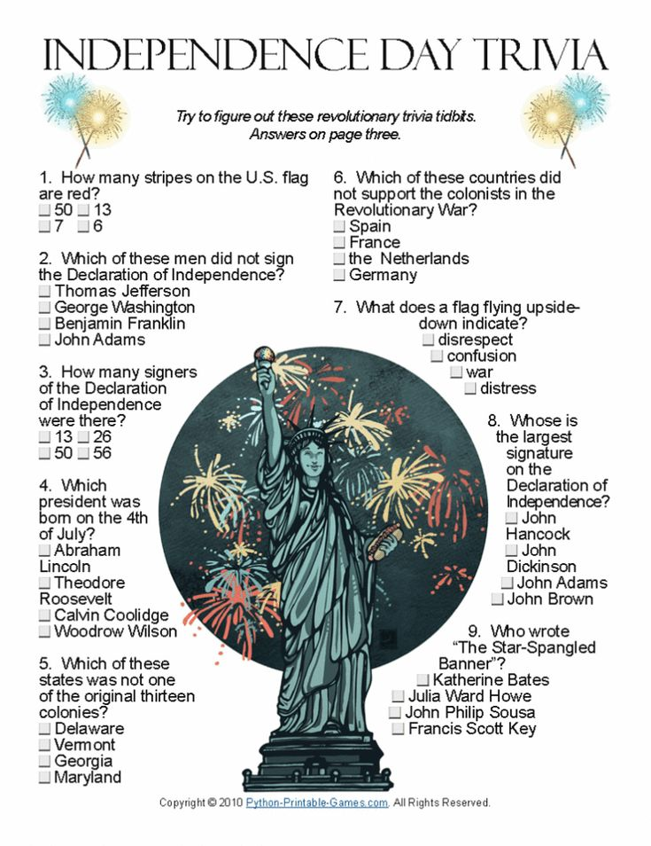 4th of July ideas: Independence Day Trivia. Wouldn't your family love to learn a little more about this special day? Now you can make a game out of it (edu-tainment!) #4thofjuly #independenceday