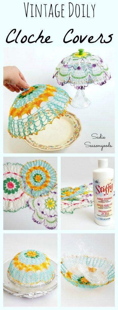 Repurposing vintage colorful doilies into cloche covers by Sadie Seasongoods / www.sadieseasongoods.com