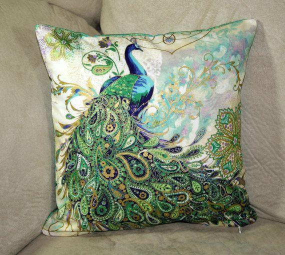 Beautiful paisley peacocks decorative pillow cover size 12 x 12