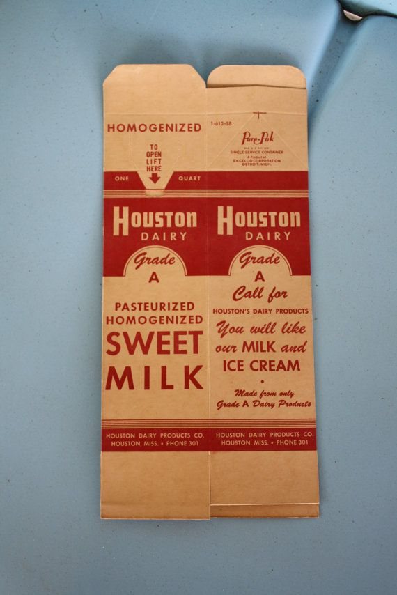 1940s1950s sweet milk carton from houston dairy