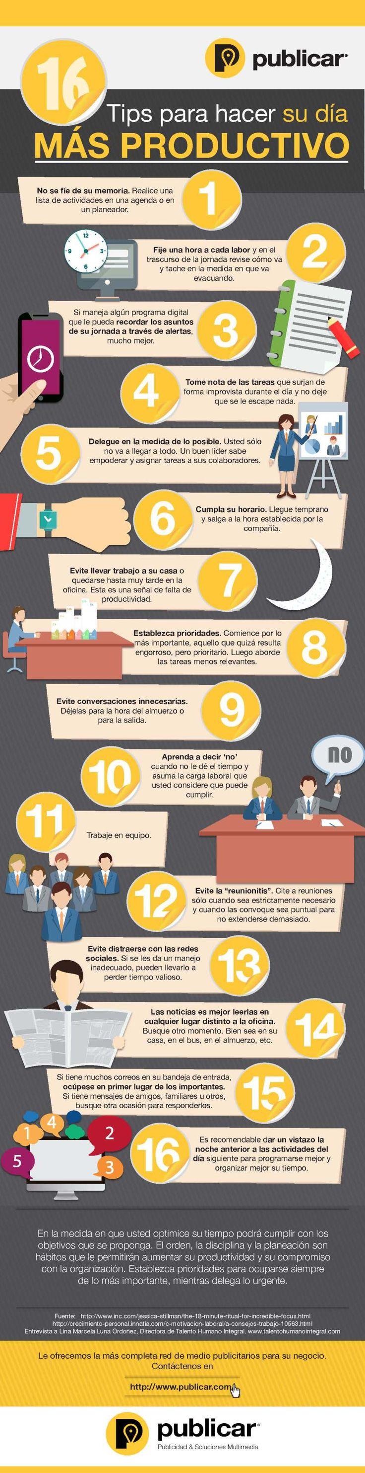 16 consejos para ser más productivo #infografia                                                                                                                                                                                 Más