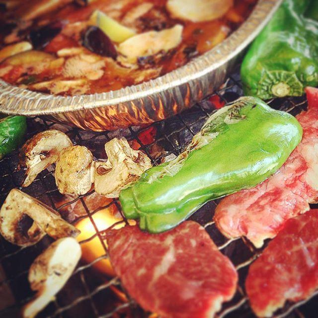 #bbq #白浜フラワーパーク #beef #ajillo #mushroom #greenpeppers #fire #肉 #ピーマン #マッシュルーム #アヒージョ #バーベキュー #炭火 #charcoal