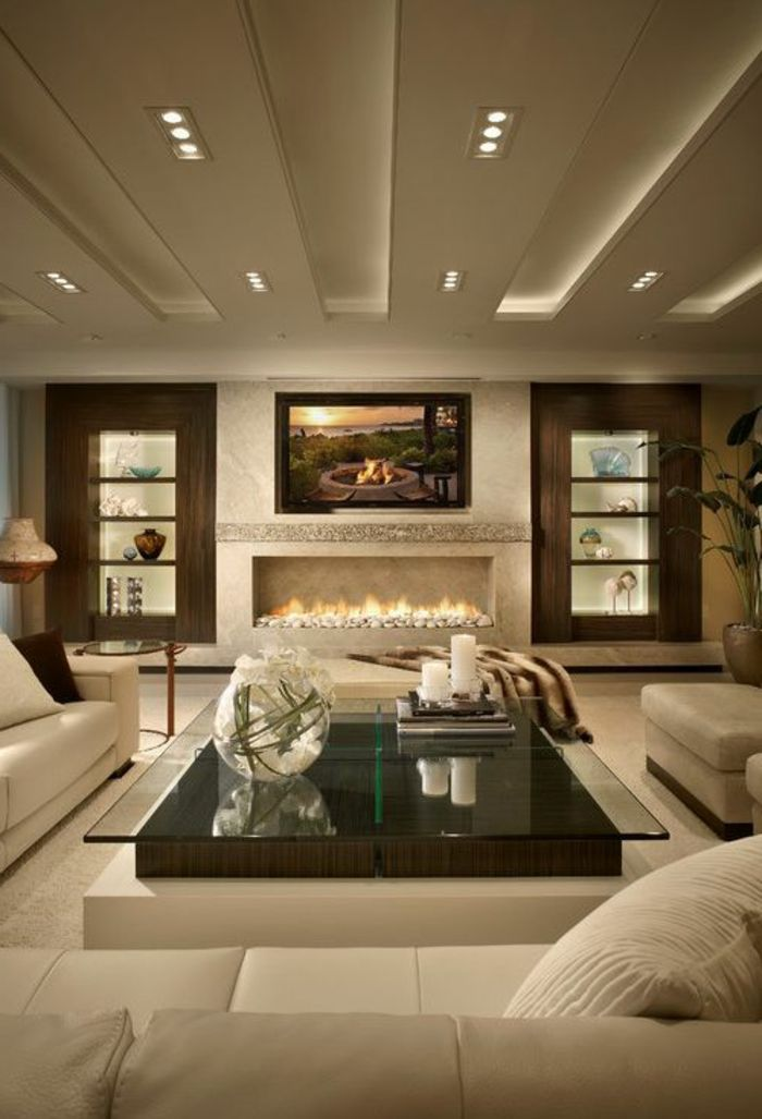 Idee Decoration Salon, Faux Plafond Avec éclairage, Séjour Décoré En Beige  Crème