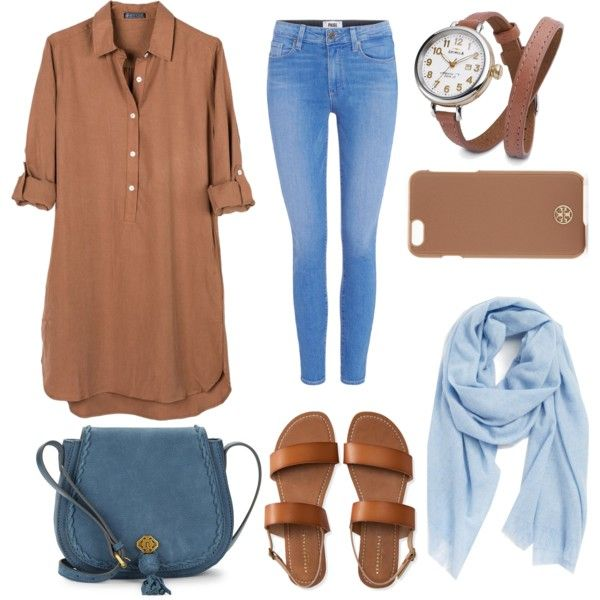Blue and Brown Hijab Outfit by hijaboutfitlooks on Polyvore featuring United by Blue, Paige Denim, Aéropostale, Nanette Lepore, Shinola, Caslon, Tory Burch, trends, Modest and hijab