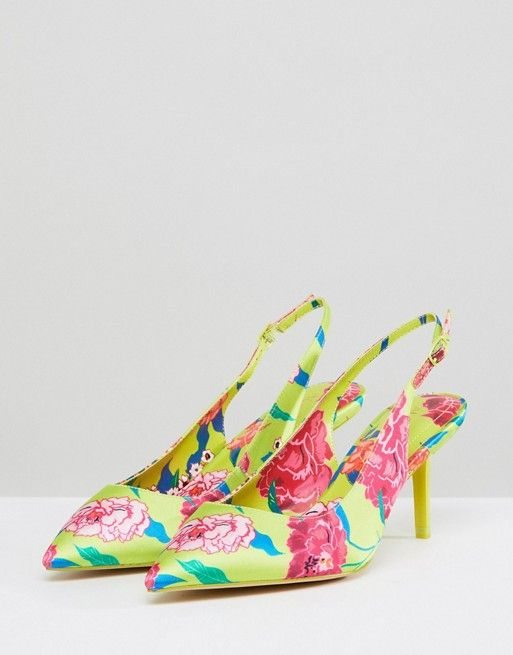 2079d57d89a ALDO Kitten Heel Sling Back Shoe in Bright Yellow Floral