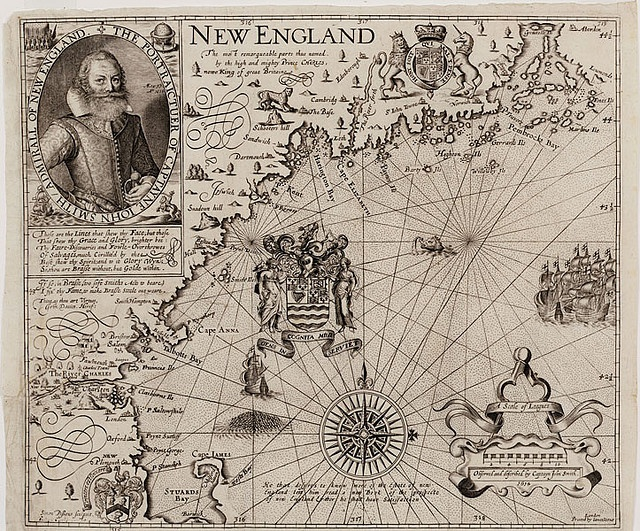 """Title: New England.     Publisher: London: Iames Reeue, [1635, 1637 or 1639]     Physical Description: (W 315--W 319/N 44 1/2--N 42) 0.1 linear: 1 oversized item.     Summary: This map is recognized as the foundation map for New England cartography and one of the most accurate of the period. There are nine known """"states"""" of this map that were printed at various times between 1616 and 1639. This is a """"State 9"""" version of the map and it was printed in 1635, 1637, or 1639. Simon van de Pass was…"""