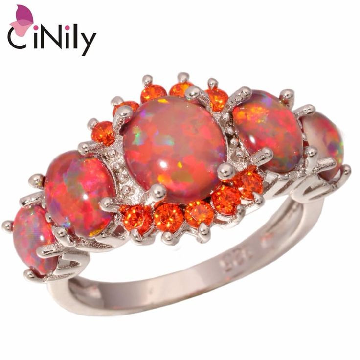 CiNily Orange Fire Opal Silver Plated Jewelry Ring //Price: $11.95 & FREE Shipping //     #me