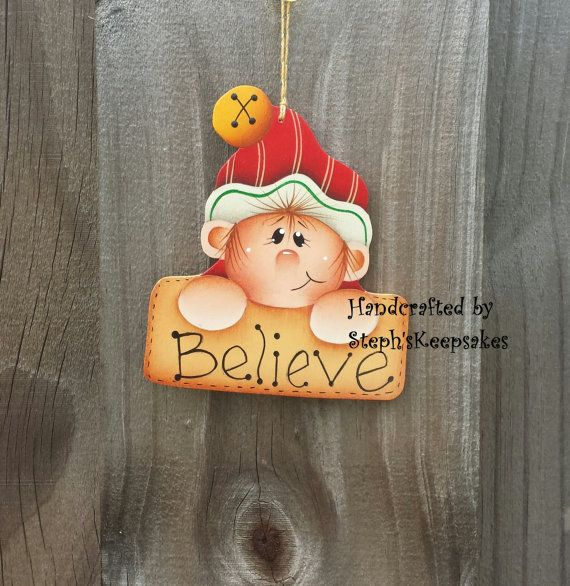 Handpainted Christmas elf Ornament, christmas crafts, wooden christmas…