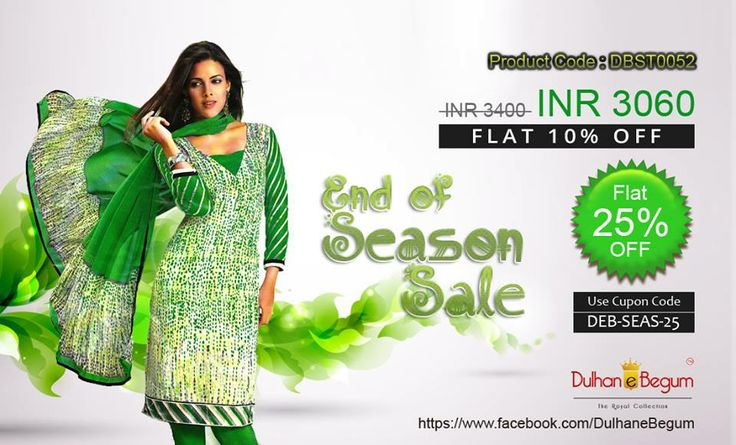 Printed Green Semi-Crepe suit with Chiffon Sleeves and Pure Chiffon Dupatta. http://goo.gl/D2ZAZp Helpline : +91 9999 028502 / +91 9910 653101 Email : support@dulhan-e-begum.com