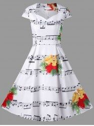 Christmas Music Note and Bell Print Dress