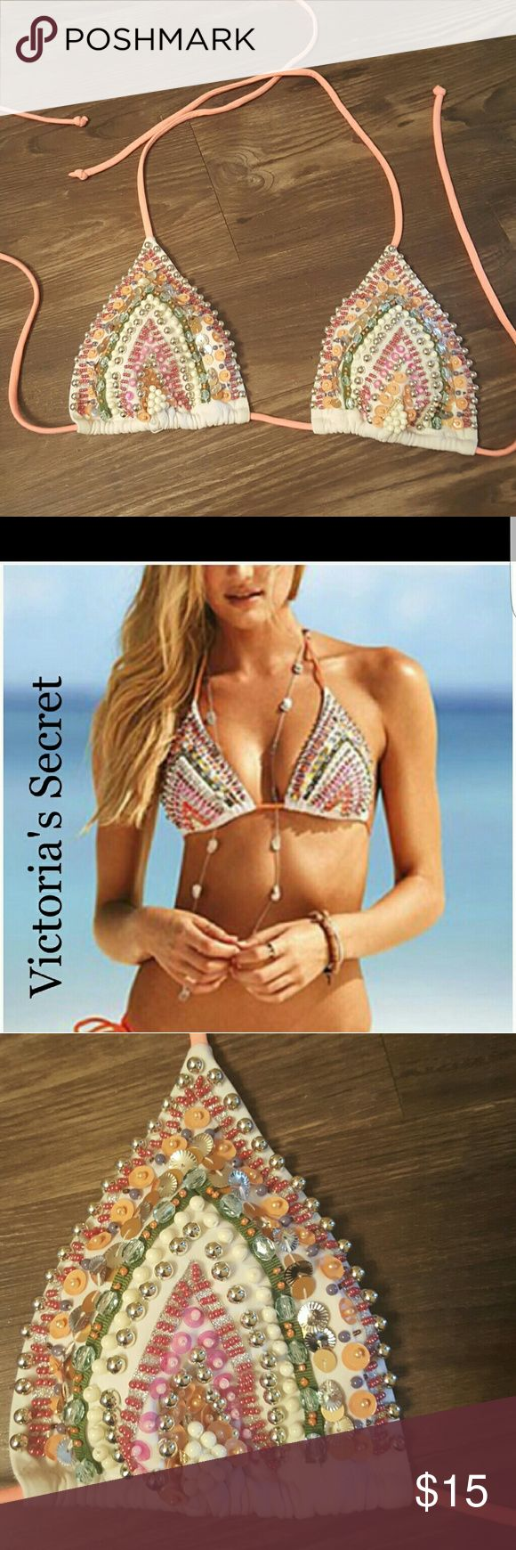 Beaded VS bikini top! Adorable,, flashy bikini top perfect for the upcoming summer!! Top has all beads intact. No stains/signs of wear! Straps are an oragngey/peach color. Size medium. Any questions?! Please ask! :) bundle to $ave!!! Victoria's Secret Swim