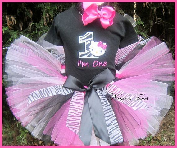 Zebra Hello Kitty with Number, Hello Kitty Party Outfit, Hello Kitty Theme Party, Custom and Personalized in Sizes 1yr thru 6yrs. $60.00, via Etsy.