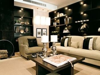 Falls Design Cream White Black Natural Wood Stunning Living Room Part 8