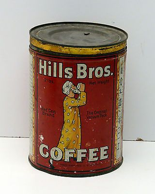 Vintage Tin Hills Brothers Coffee Red Can Brand Very OLD Rare  2lb Can
