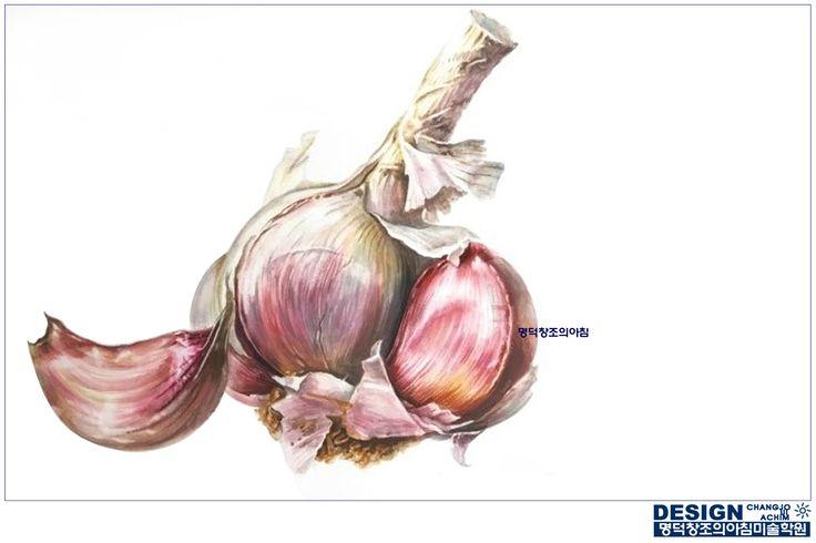 #명덕창조의아침 #창조의아침 #기초디자인 #기디 #개체묘사 #개체표현 #질감표현 #사실묘사 #마늘 #garlic