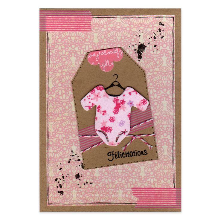 Carte Félicitations naissance fille Body à fleurs, Collection Les Créations de Marinette - Lovely Carte