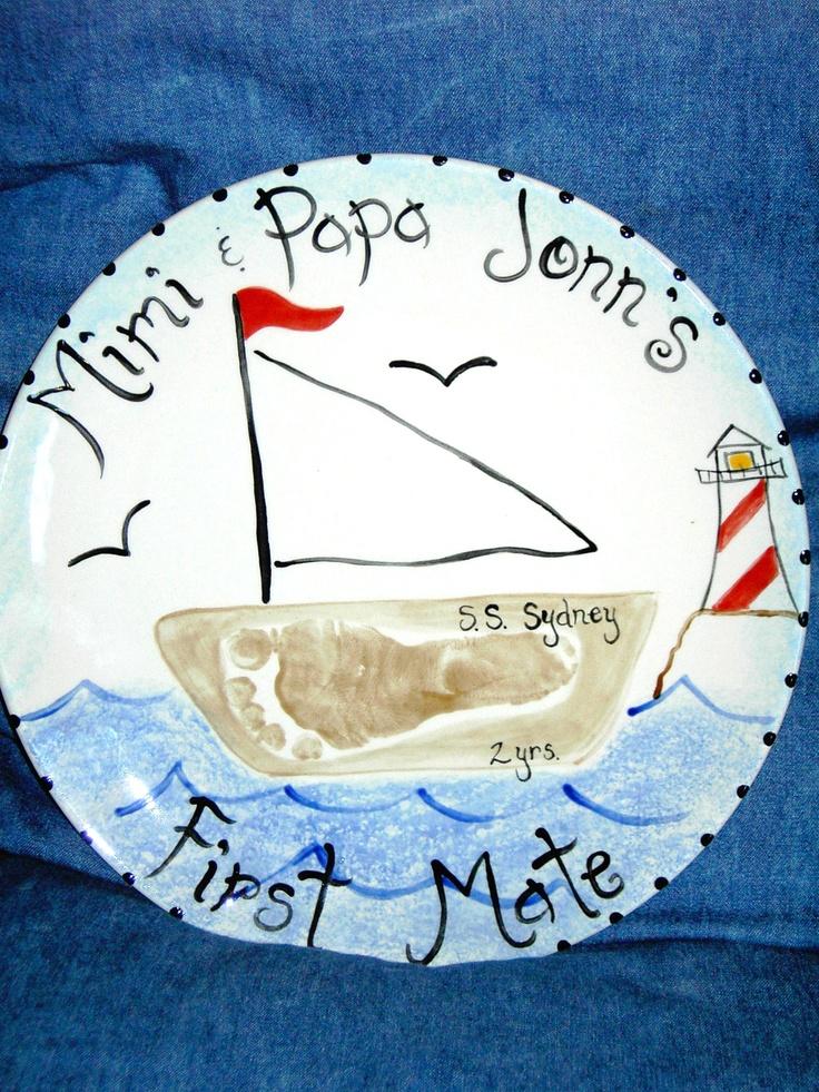 boat plate: Feet Prints, Crafts Ideas, Handprint Crafts Footprint, Art Prints, Handprint Art Footprint, Baby Cadence, Fun Things, Boats Plates, Boats Handprint