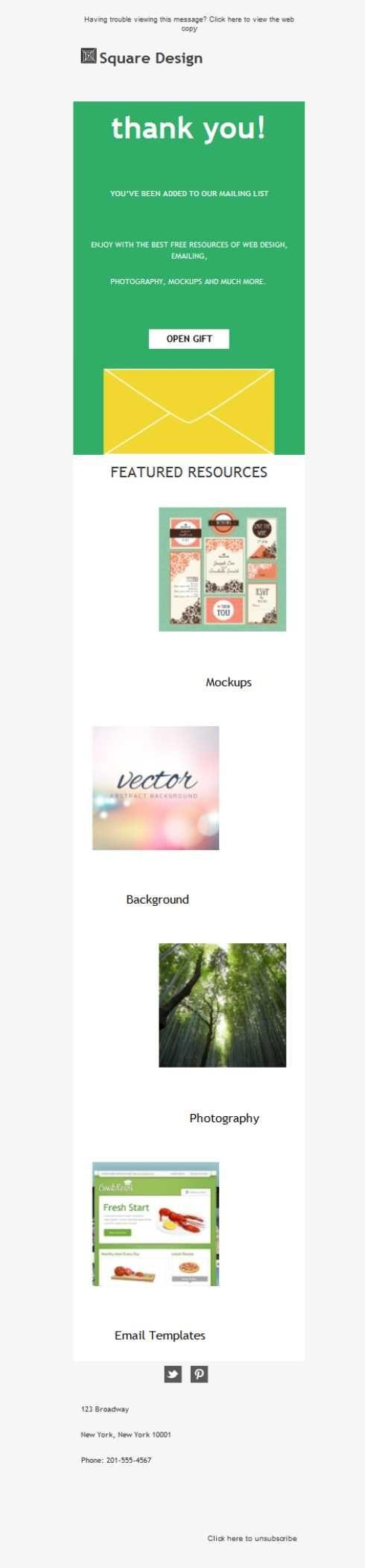 Da las gracias a tus contactos por contar con tu agencia de diseño gráfico enviándole plantillas newsletter como ésta. Con Mailify, es posible.