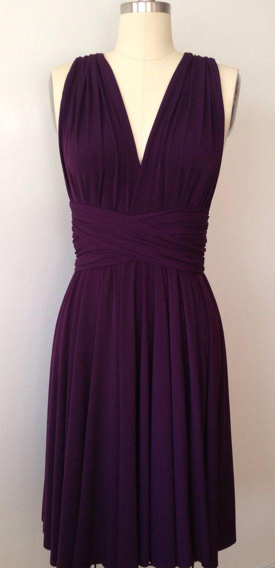 Dark Purple Grape Eggplant SHORT Infinity Dress by AtomAttire