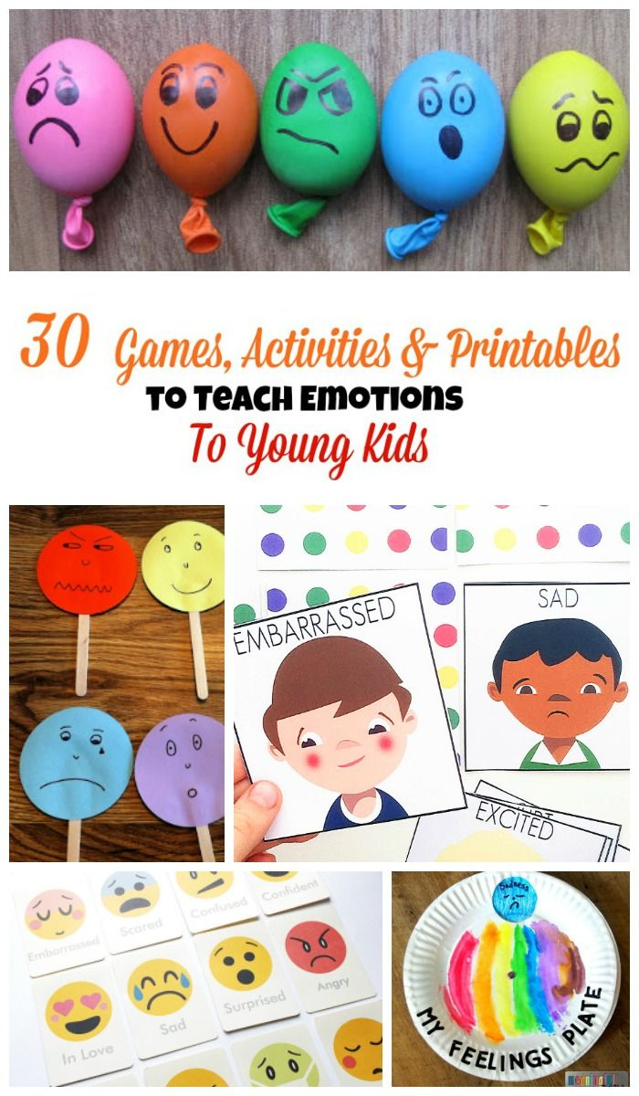 30 Games, Activities and Printables to Teach Emotions to Young Kids. Repinned by SOS Inc. Resources pinterest.com/sostherapy/.