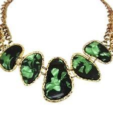 Green leopard print collar necklace