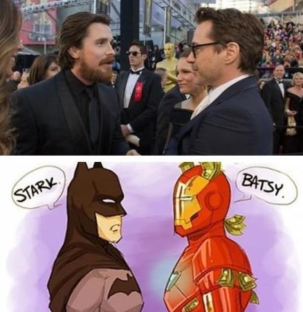 Batsy & Tony: Christian Bale, Comic, Movies, Iron Man, Funny, Batman, Ironman, Superhero