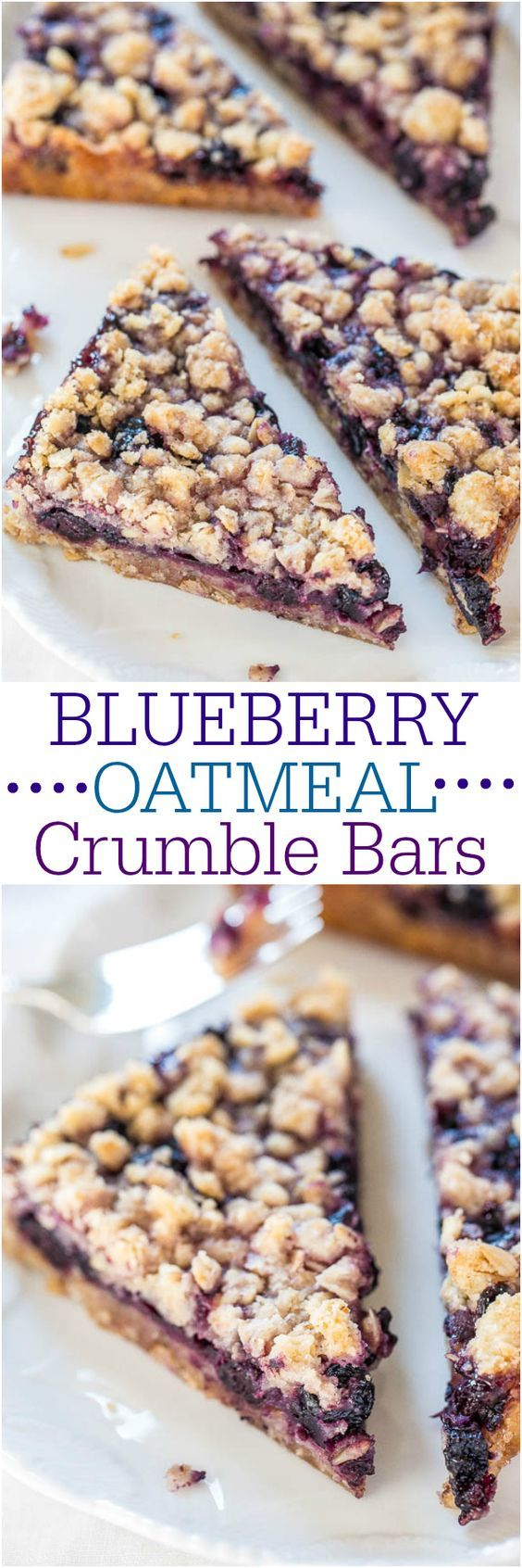 Blueberry Oatmeal Crumble Bars - Fast easy no-mixer bars great for breakfast snacks or a healthy dessert! BIG crumbles and juicy berries are irresistible!!