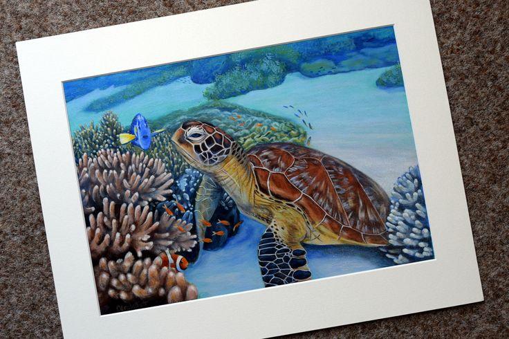 Turtle art for sale by Carole Elliott raises funds for turtle rescue! #turtle #seaturtle #turtleart #artforsale #artist #australianartist