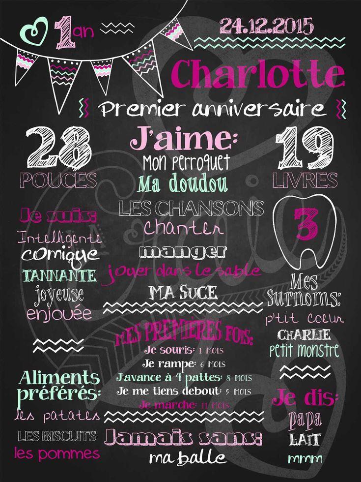 Affiche personnalisée 1er anniversaire Mignons fanions (fuschia) | 28,00$ #chalkboard #lacraieco