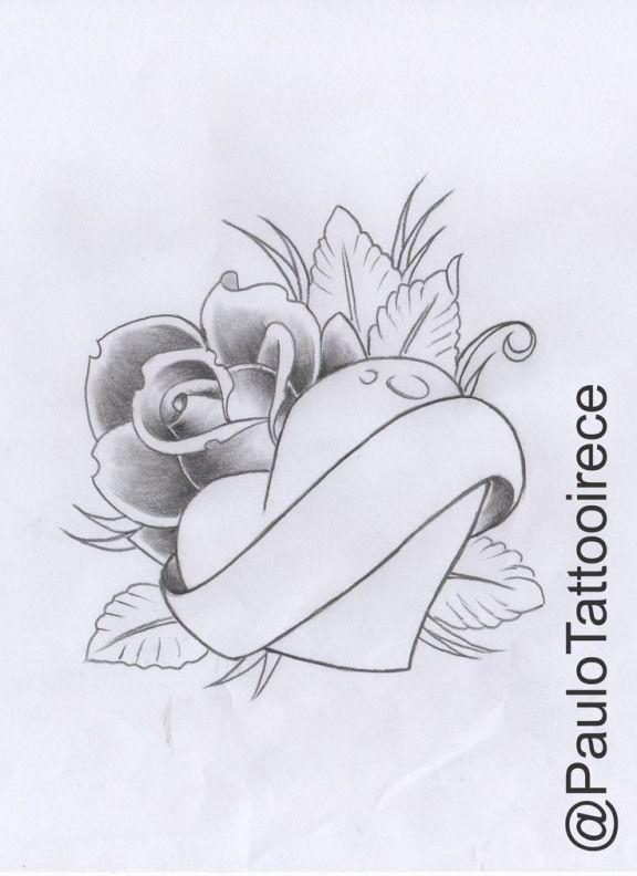 Rose With Heart Elian Heart Design Heart Doodle
