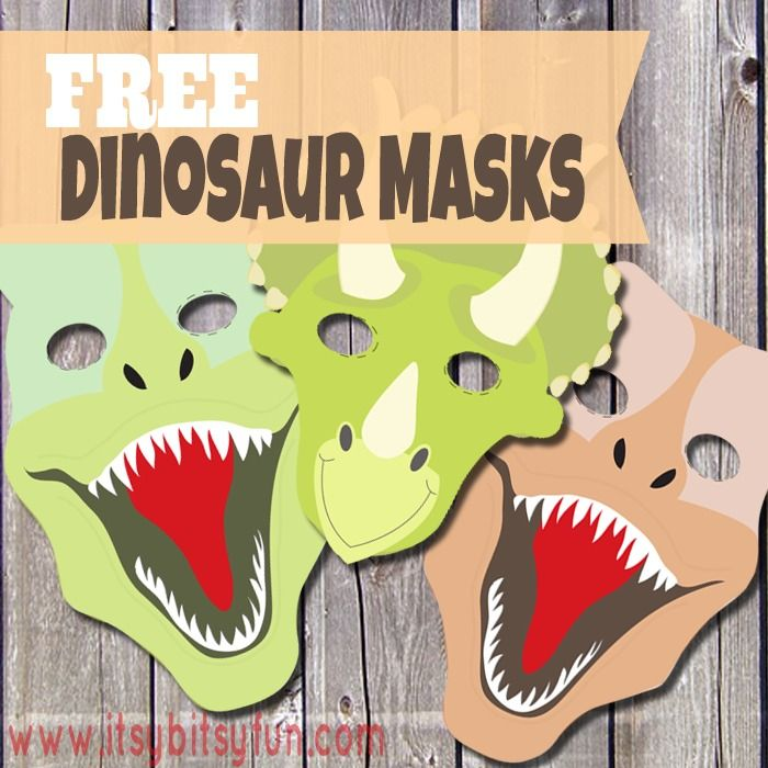 Printable Dinosaur Mask - Itsy Bitsy Fun Repurposed. Printed out this mask added stickers for eyes - attached to a cardboard head band for #sportsrelief silly hat day at school. Added strips of orange and green felt to make T Rex have clown hair on the sides.