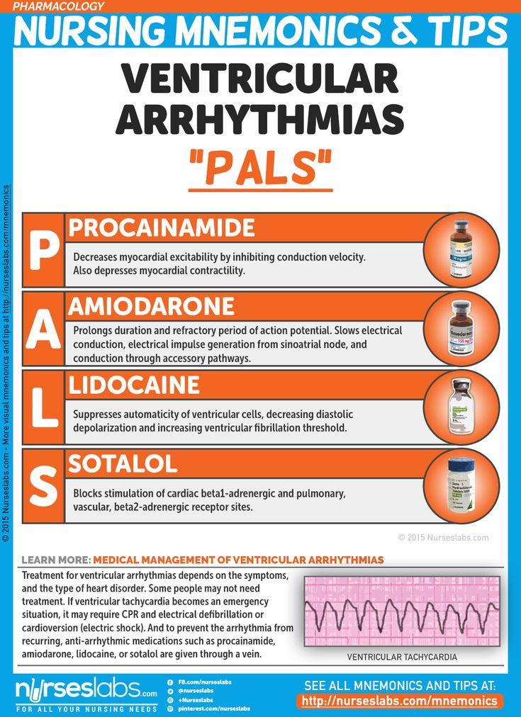 "Ventricular Arrhythmias: ""PALS"" Pharmacology Nursing Mnemonics and Tips: http://nurseslabs.com/pharmacology-nursing-mnemonics-tips/"