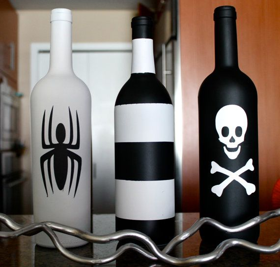 3 Halloween Decorative wine bottles add green and purple shimmery bows for halloween style