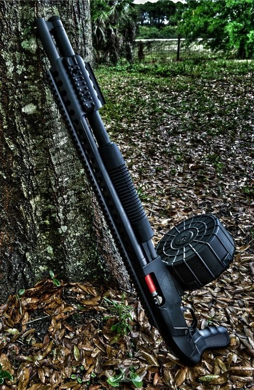 Black Aces Tactical Custom pump-action shotguns that are built on magazine fed receivers; they are not Remington 870 or Mossberg 500's. Black Aces Tactical has different models, this one I think is...