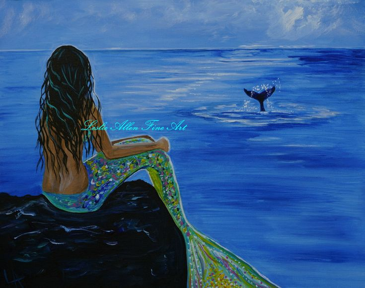 "Mermaid  Ocean Beach Seascape  Fantasy Magical Art   ""Whale Watching"" Leslie Allen Fine Art"
